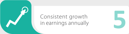Consistent growth in earnings annually